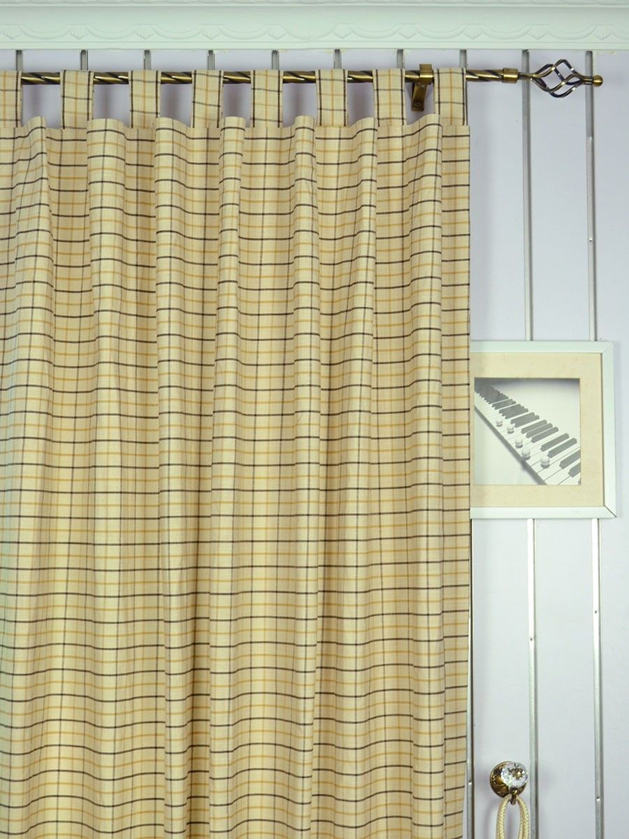 extra wide hudson small plaid tab top curtains 100 inch. Black Bedroom Furniture Sets. Home Design Ideas