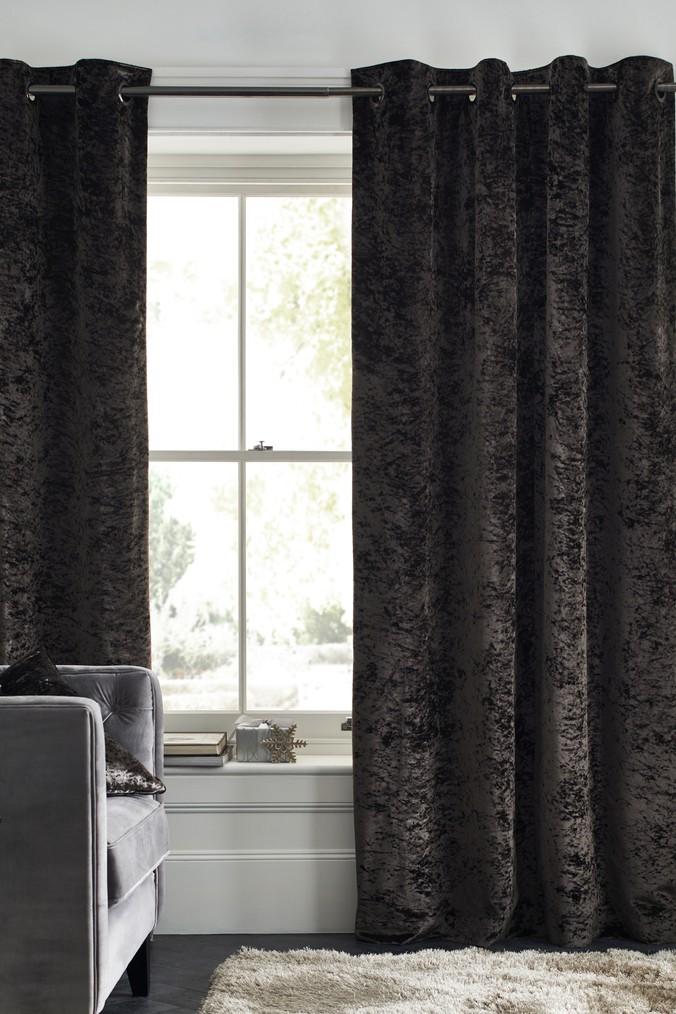 Next Crushed Velvet Eyelet Lined Curtains Grey Velvet Curtains Lined Curtains Curtains
