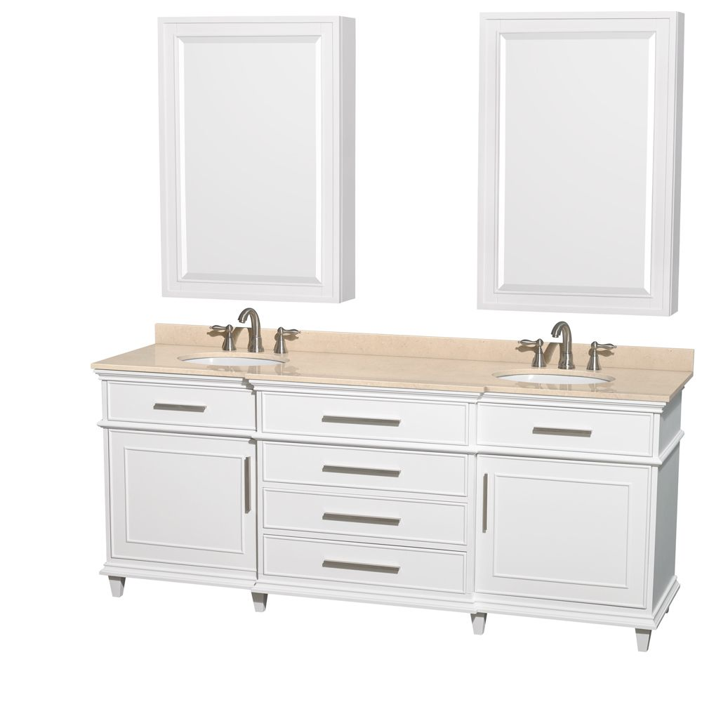 Wyndham Collection Berkeley 80 Inch White Double Vanity
