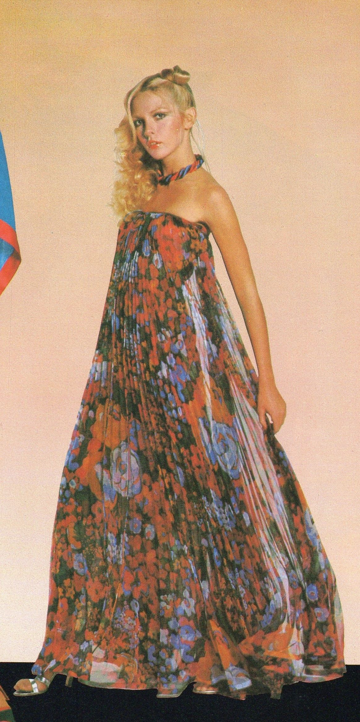 5fbf02f65b Jean Patou Haute Couture- 1977 Floral silk mousseline strapless pleated  skirt dress. L officiel USA Spring 1977