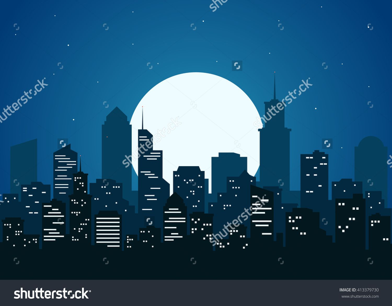Night City Vector Illustration Dark Urban Scape Night Cityscape In Flat Style Night City Skyline Abstract Background City Vector City Landscape City Skyline