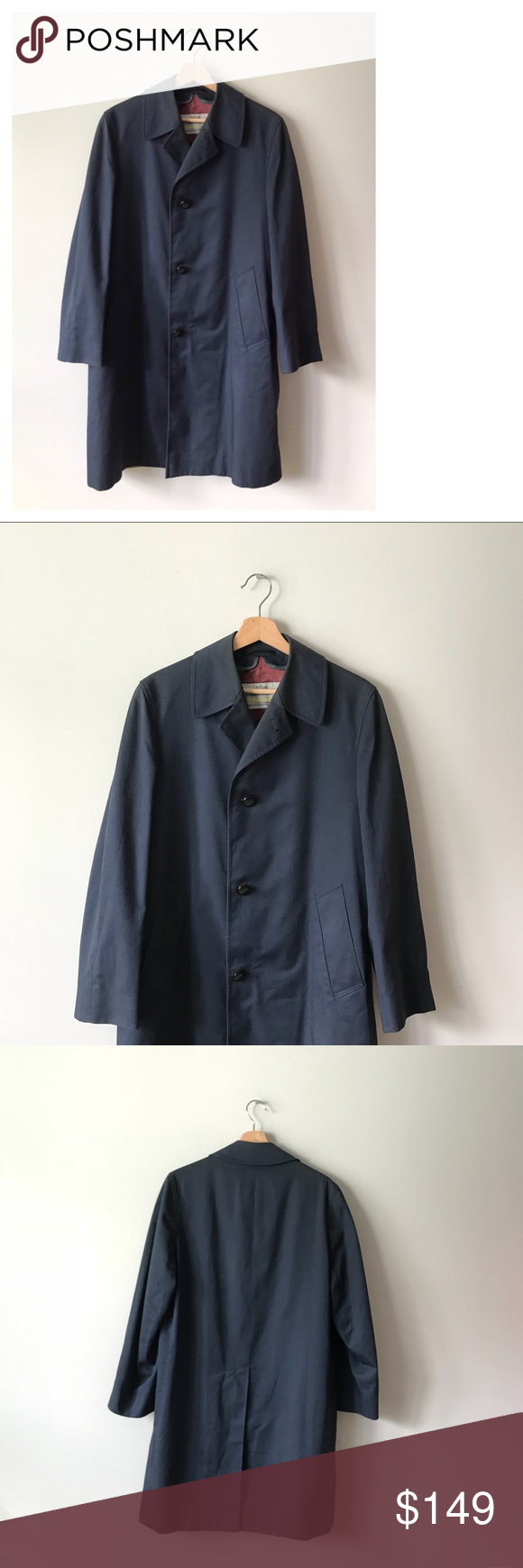 best value low price sale first rate Vintage Aquascutum London Coat Jacket Navy S Chest/Bust: 44 ...