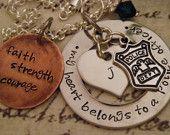 Engraved Jewelry My Heart Belongs To A Deputy Sheriff Firefighter Cop Hero Marine Coastie Soldier Custom Necklace