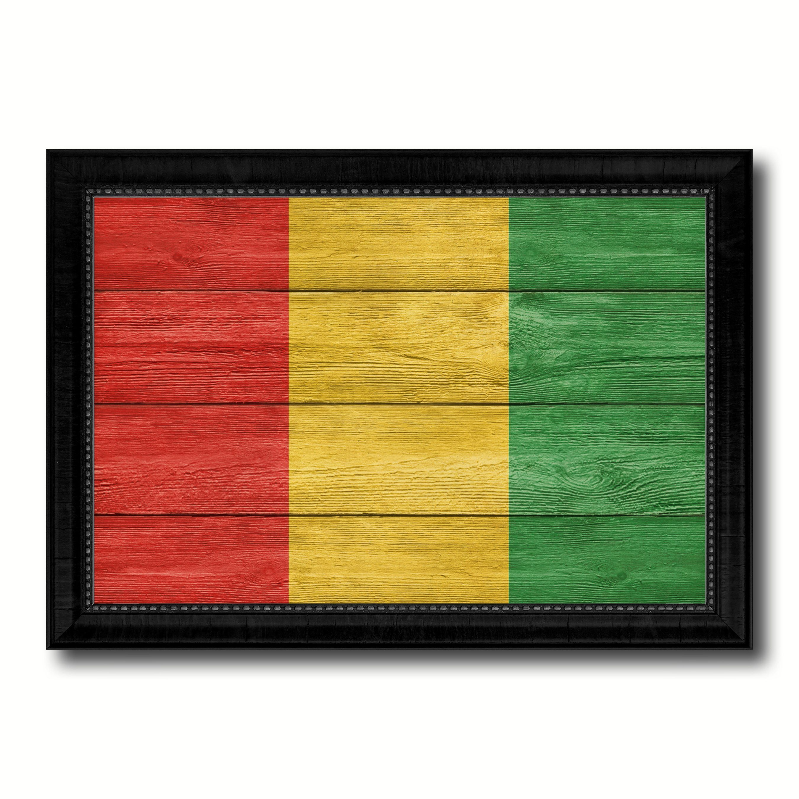 Guinea Country Flag Texture Canvas Print with Black Picture Frame ...