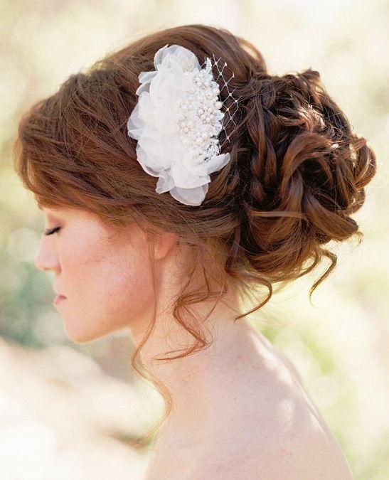 bride's loose curly chignon bun