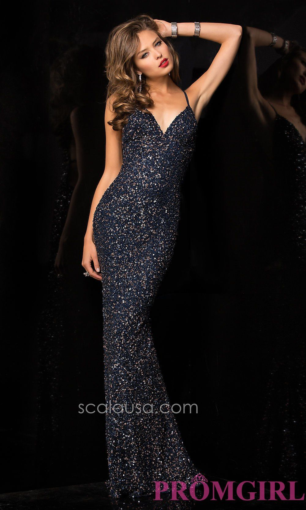Scala long sequin vneck dresses open back prom gowns promgirl