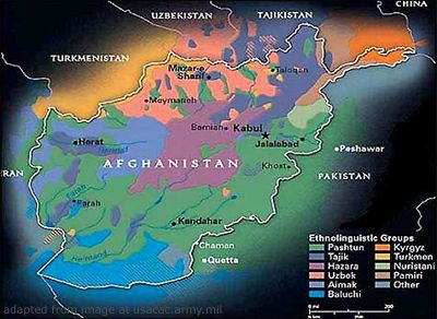 Afghanistan Map of Ethnicities, or Ethnolinguistic Groups ...