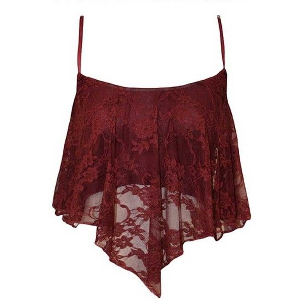 048d4c61e6b Dark Red Lace Spaghetti Straps Asymmetrical Hem Camisole ( 18) ❤ liked on  Polyvore featuring tops