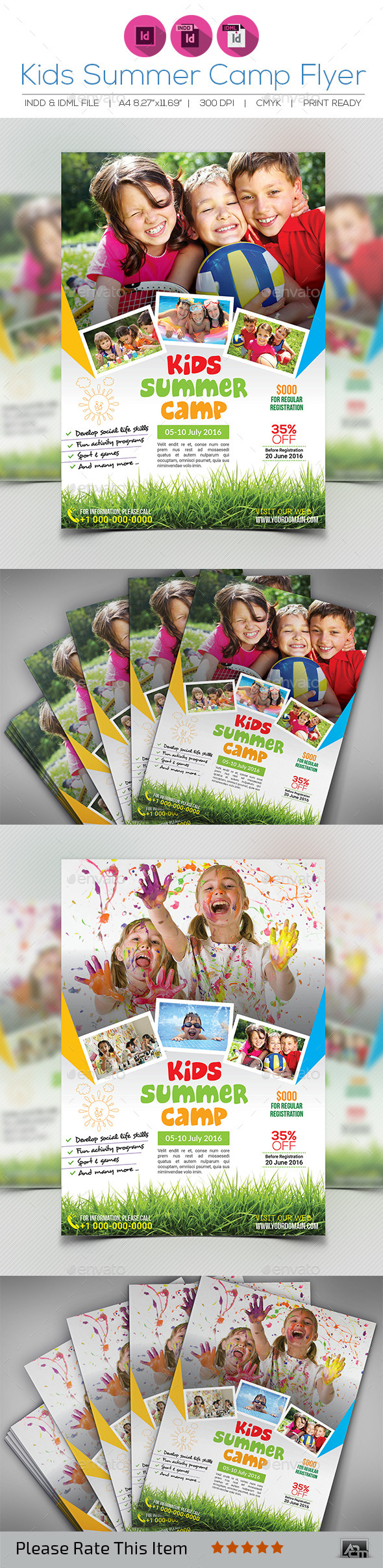 Kids Summer Camp Flyer Template — Indesign Indd #kid #ad • Available Here →
