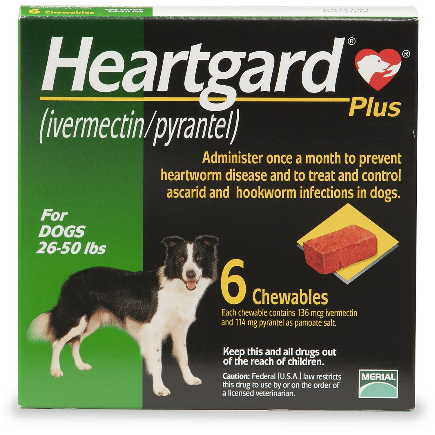 Heartgard Plus Chewables For Dogs 26 To 50 Lbs 6 Pack In 2020