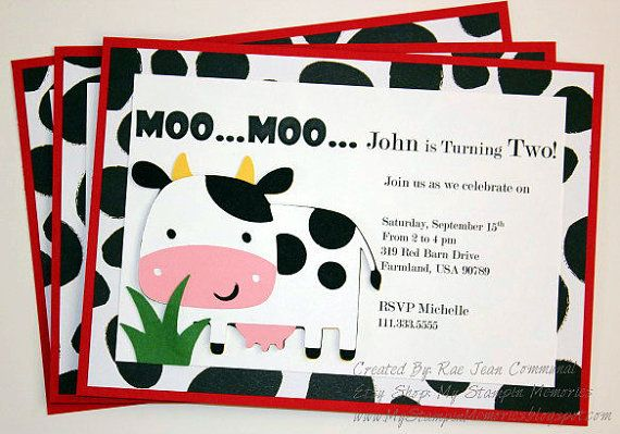 moo cow handmade barnyard birthday party invitations set of 12