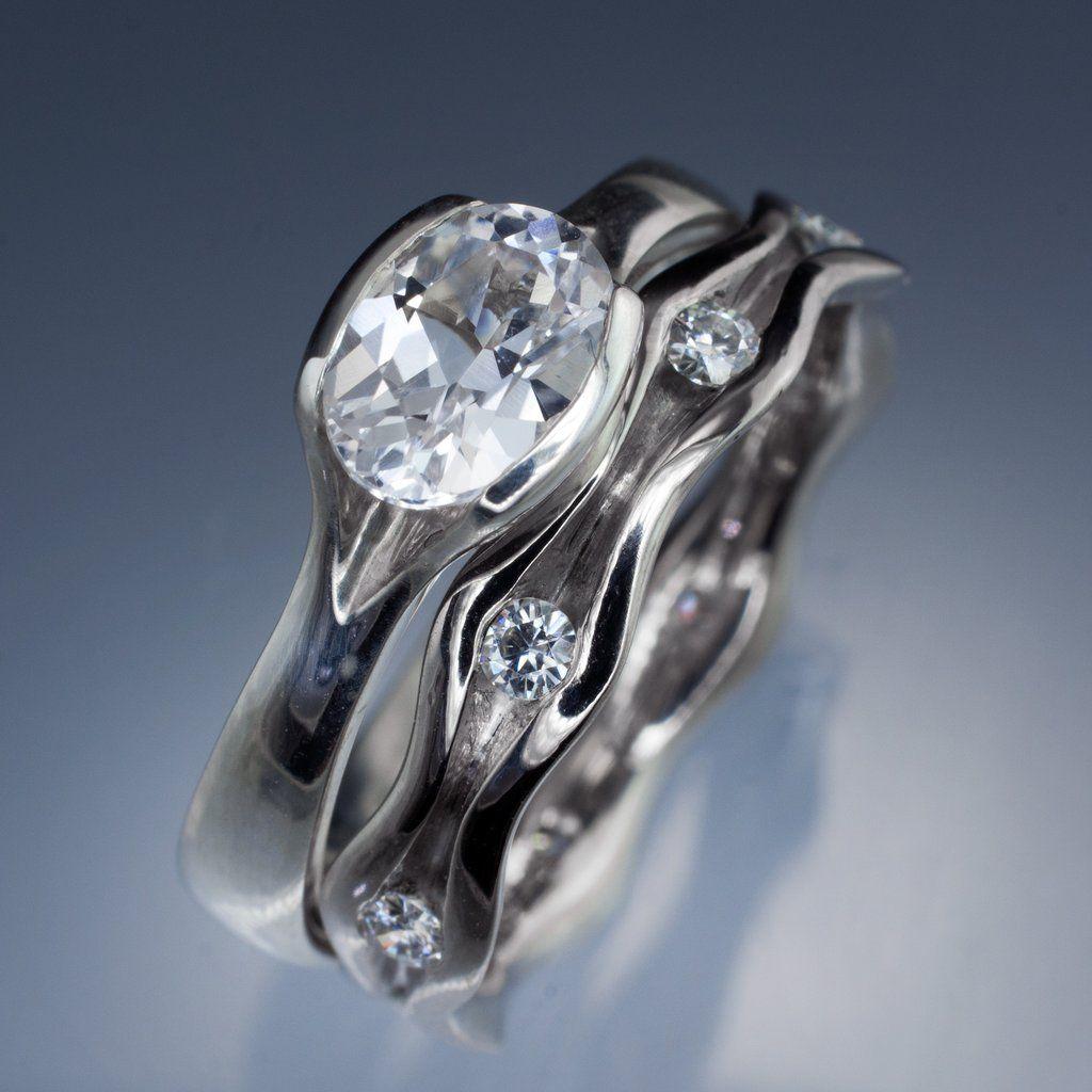 Oval White Sapphire Half Bezel Engagement Ring & Wave Wedding Band Bridal  Set