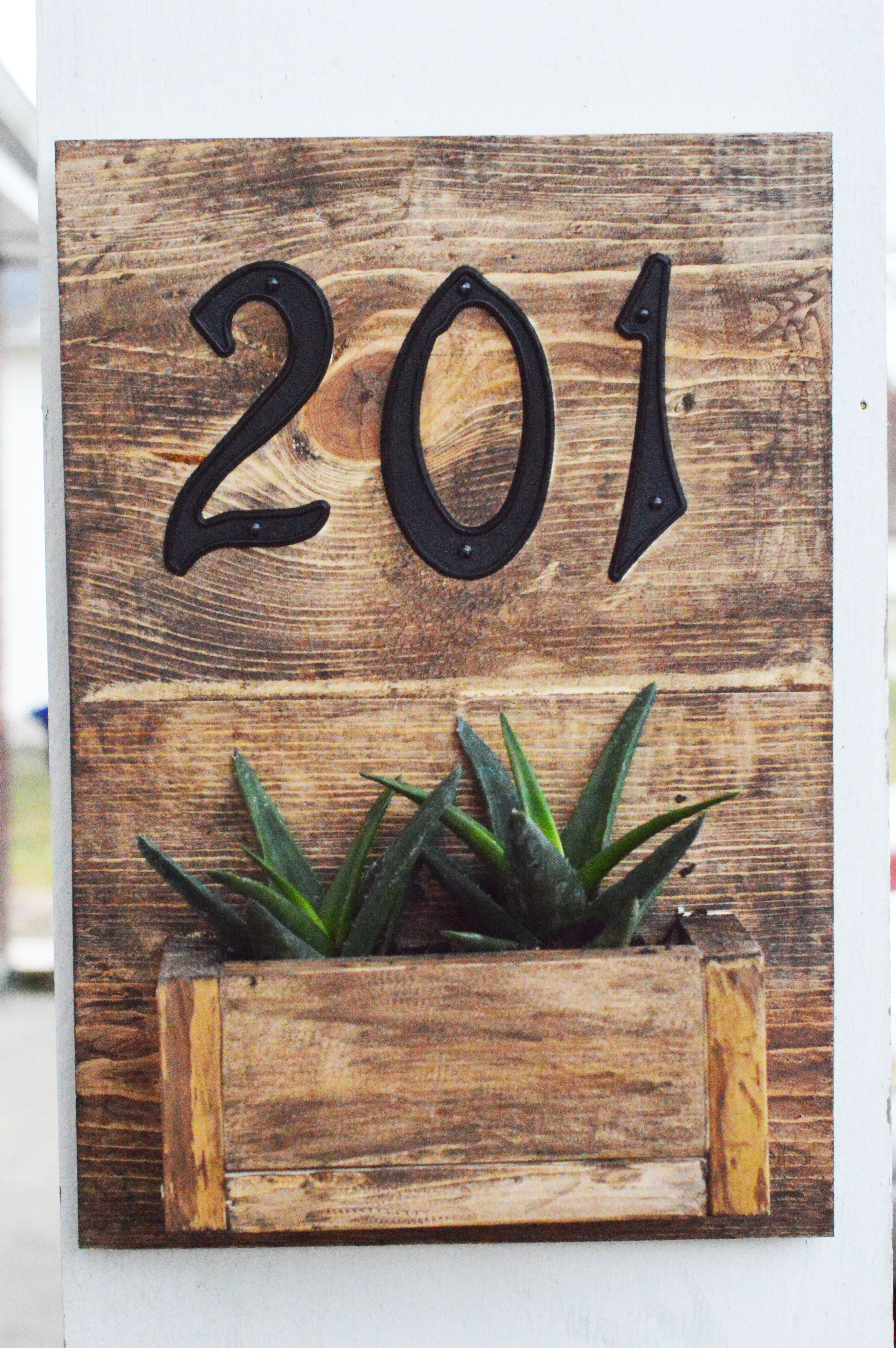 DIY Rustic Address Hanging Planter Box Sign with Street