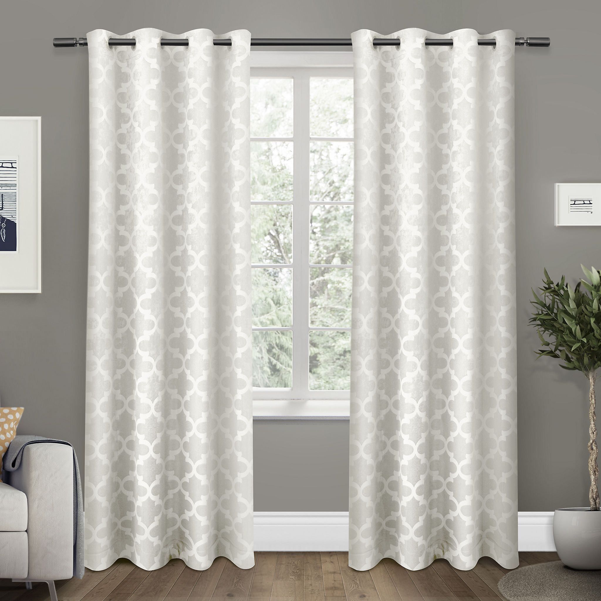 White Cartago Blackout Curtain Panel Set 108 In Insulated
