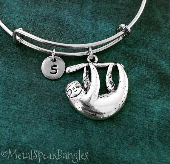 Sloth Bracelet Bangle Gift Animal Jewelry Charm Pendant Adjule