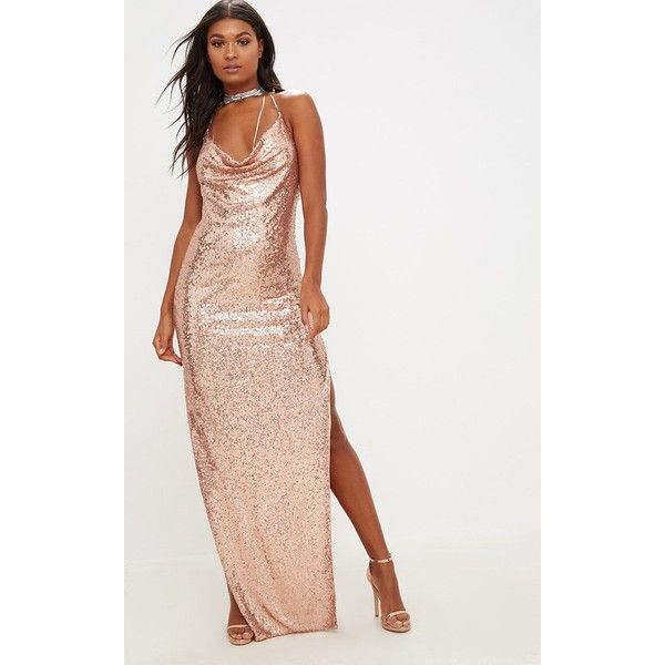 Rose Gold Sequin Chain Choker Maxi Dress ($60) ❤ liked on Polyvore ...