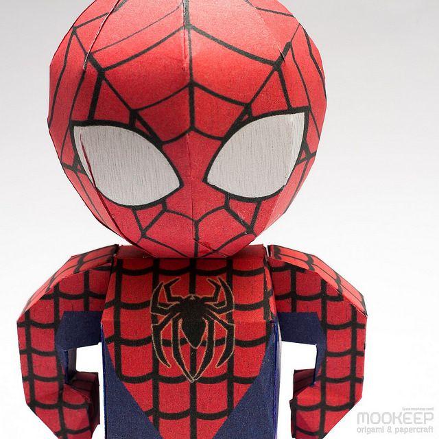 Cute Chibi Spiderman Papercraft Model Download Free Template Here สไปเดอร แมน งานฝ ม อจากกระดาษ กระดาษ