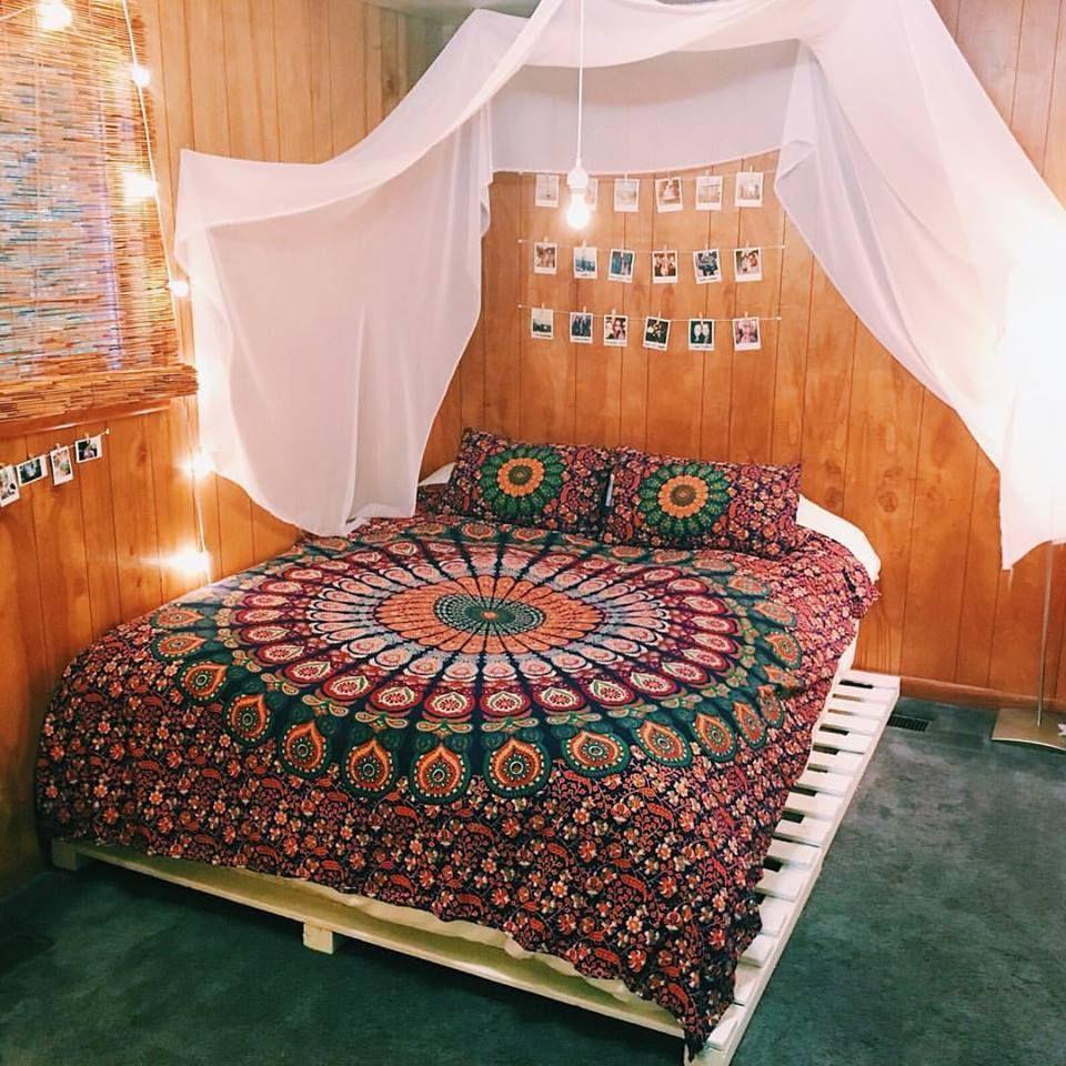 Hippie Bohemian Indian Mandala Queen Size Cotton Duvet Cover Set Bedding Decor