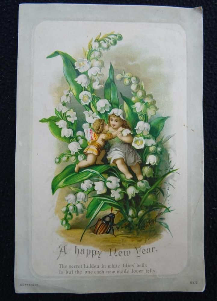 antique victorian printed new years greeting card  flower