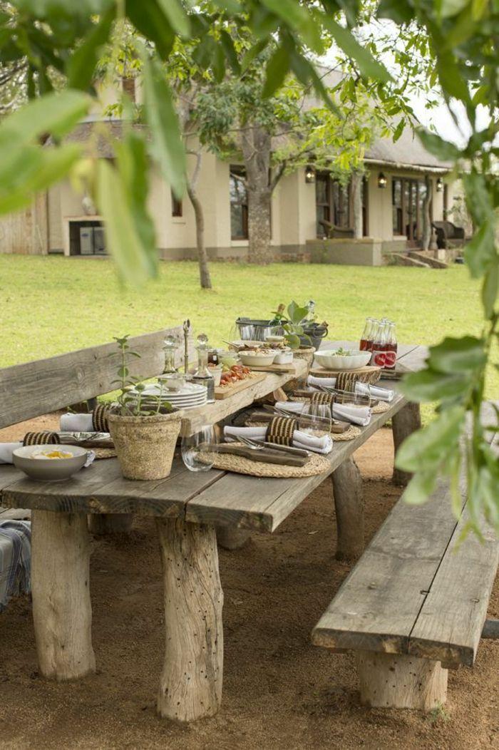 Rustikale Gartenmöbel Massivholz Esstisch Bänke Home