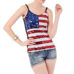 $7.86 Sequins Stripe (Flag Print) Fashionable Style Spaghetti Strap Tank Top For Women