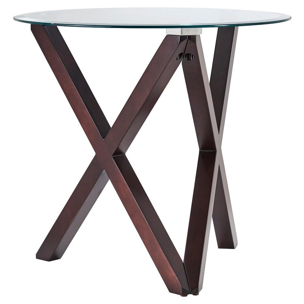 Alcala Contemporary Glass Top Side Table Espresso - Inspire Q, Wood