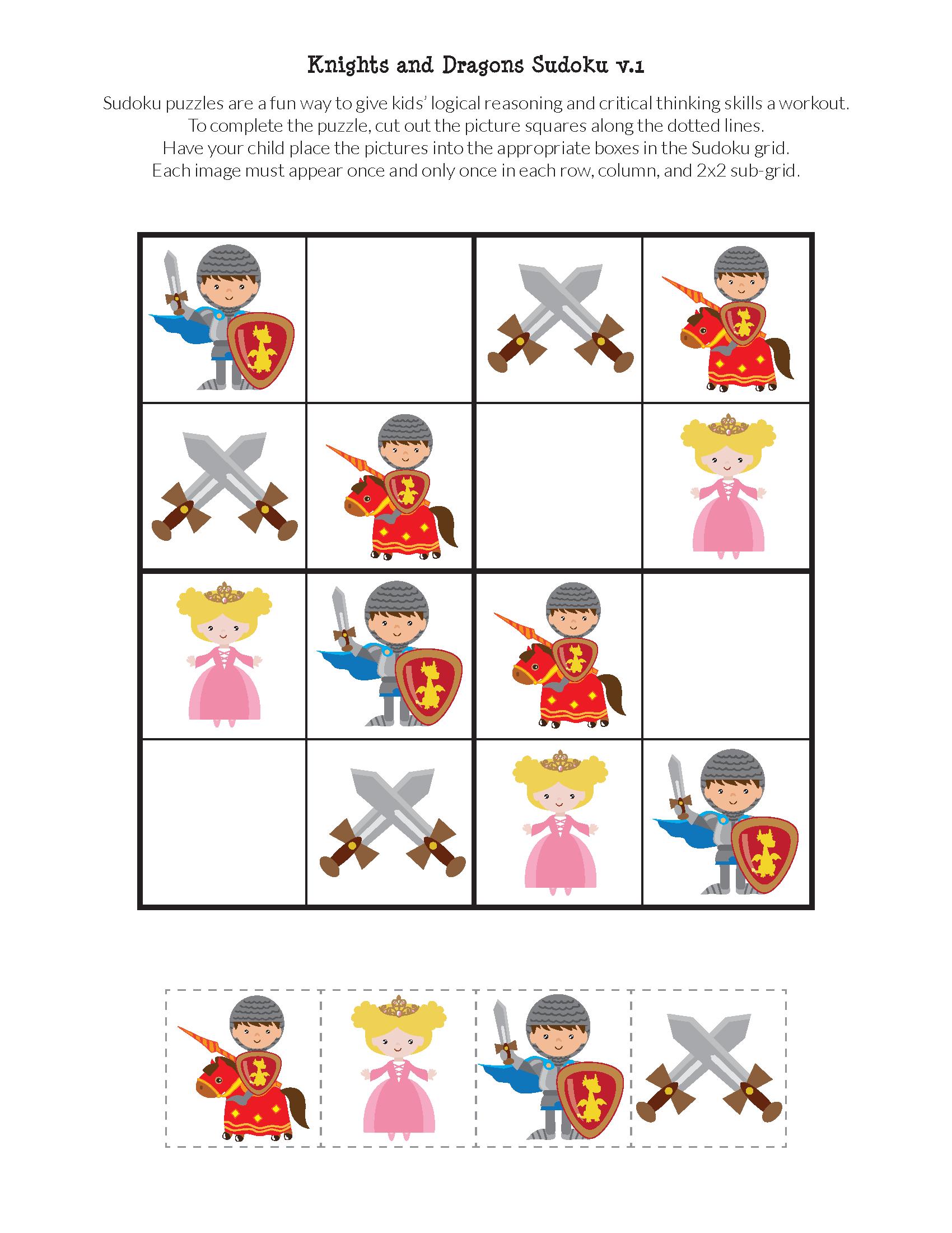 Knights And Dragons Sudoku Free Printables
