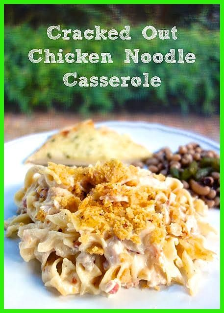Cracked Out Chicken Noodle Casserole Recipe  chicken noodles chicken soup cheddar bacon Ranch and s