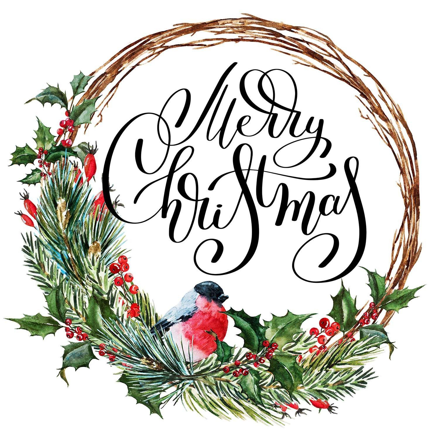Merry Christmas - Wreath with Bird, Holly & Pine Branches Vinyl ...