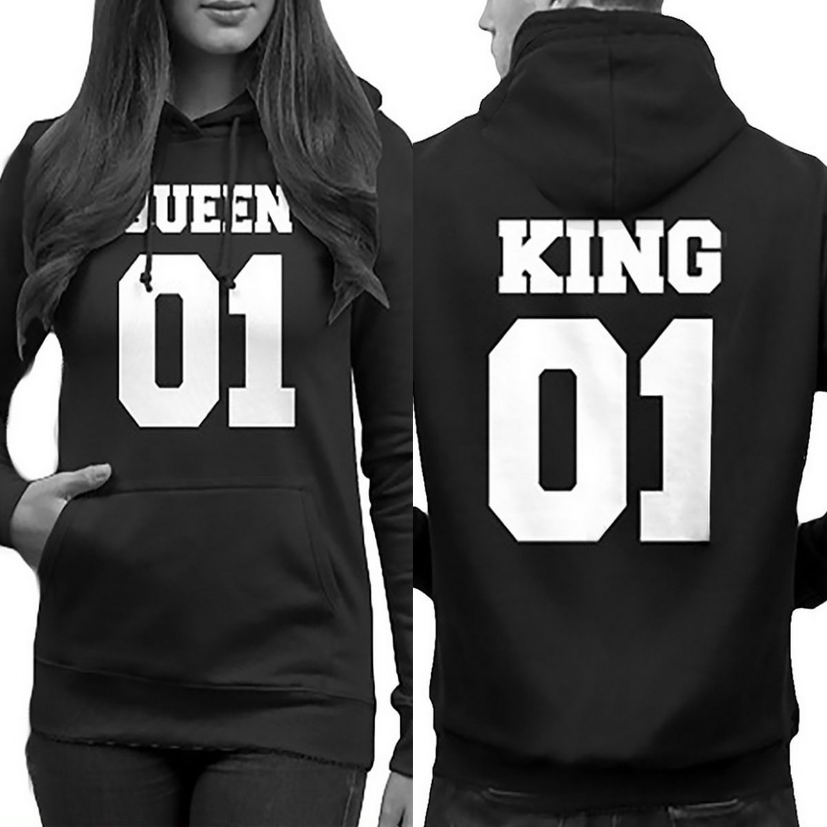 f803e0c8eb King And Queen His-And-Hers Design Couple Matching Funny Cute Hooded  Sweater Kapucnis