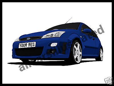 FOCUS RS GRAPHIC CAR ART PRINT. PERSONALISE IT    - http://www.fordrscarsforsale.com/2490