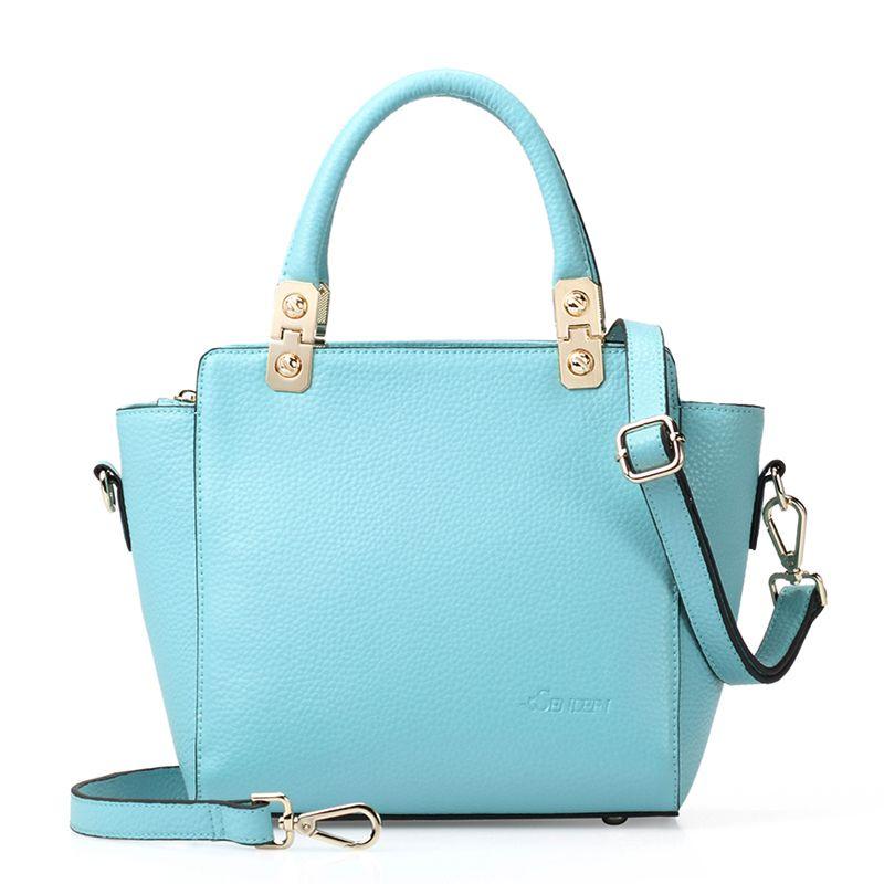 Candy Color Leather Bags Women Designer Handbags sky blue Handbag ...