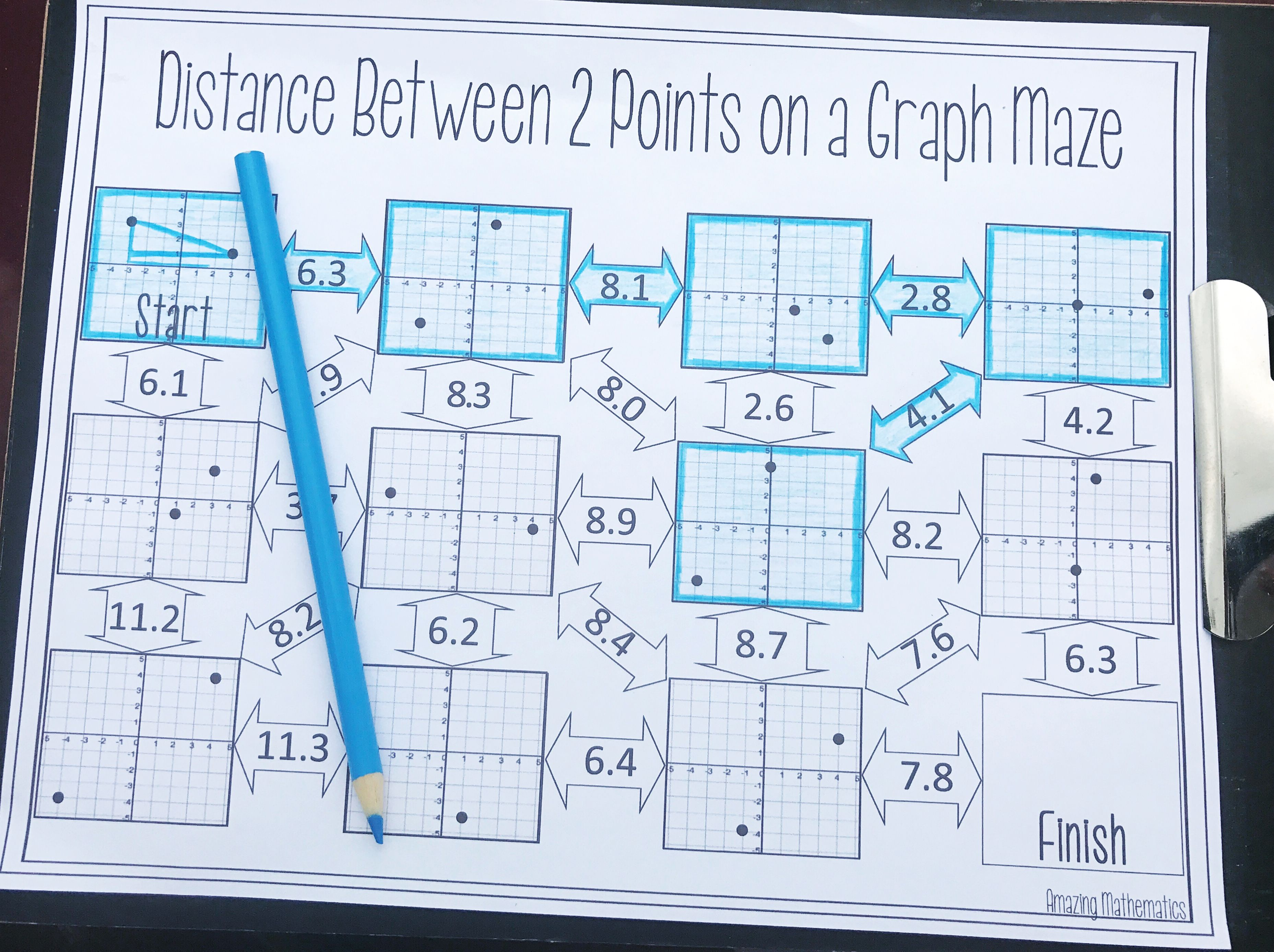 Distance maze pythagorean theorem middle school maths and math this was the perfect way for my 8th grade math and geometry students to practice finding robcynllc Image collections