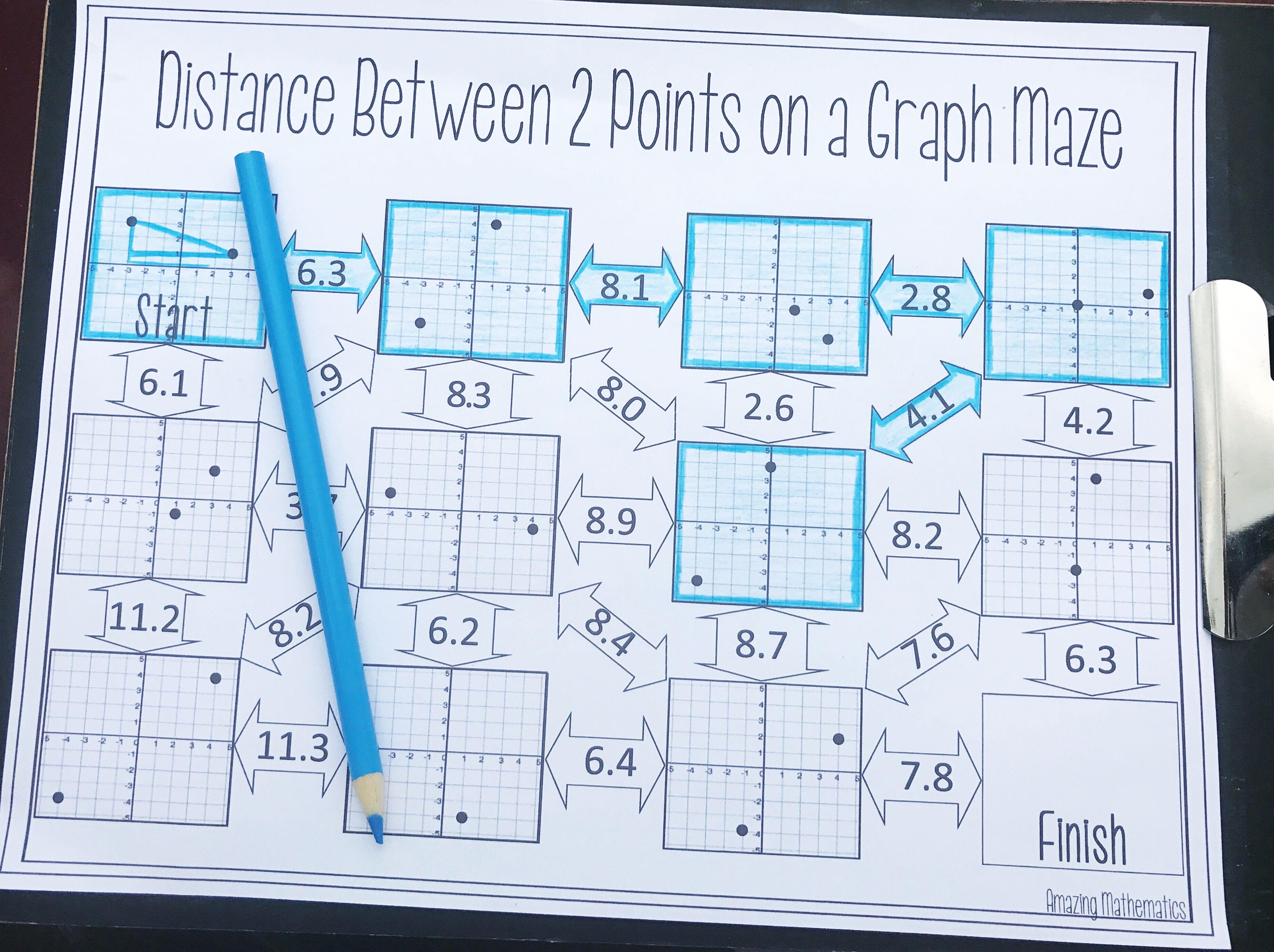 Distance Maze Worksheet Distance Formula Pythagorean Theorem Geometry Worksheets