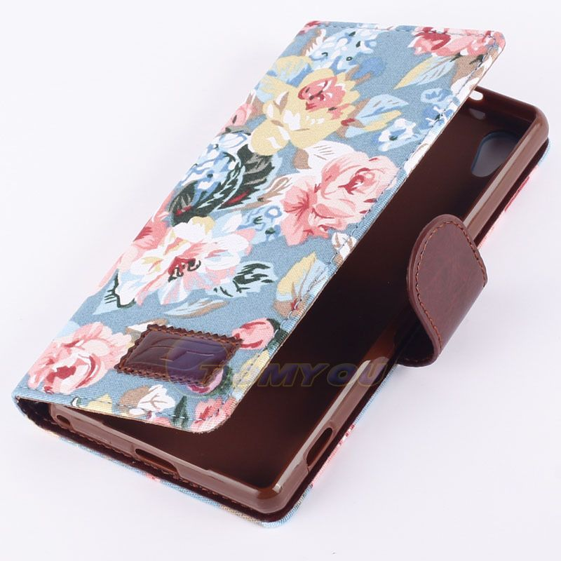 New Arrival 2014 Flip PU Leather Stand Wallet Case cover For Sony Xperia Z2 Phone case Flower $5,02