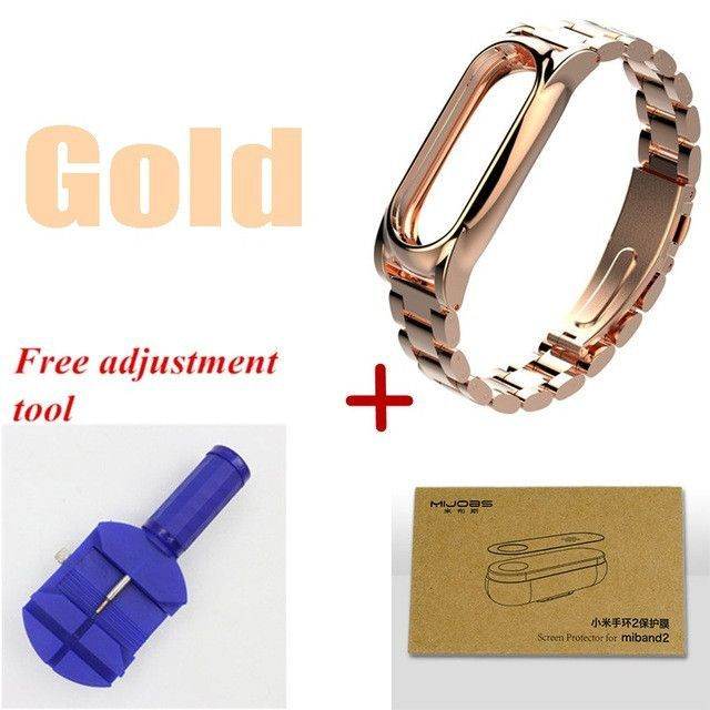 Mijobs Metal Replacement Wrist Strap For Xiaomi Mi Band 2 accessories Screwless Stainless Steel Bracelet for mi band 2 strap