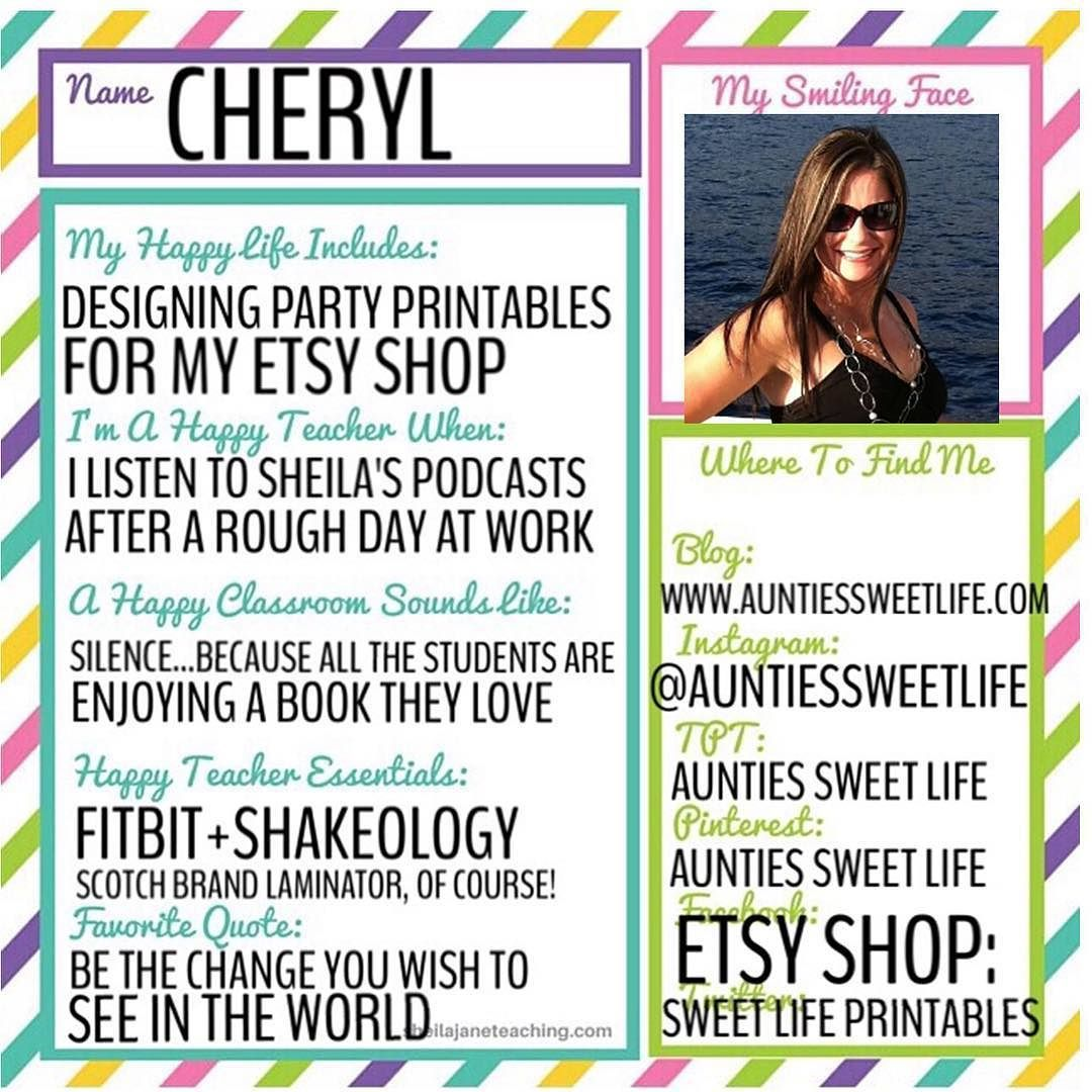 Everyone say HI to Cheryl. Happy Teacher Feature Day is my favorite day of the week.  @auntiessweetlife