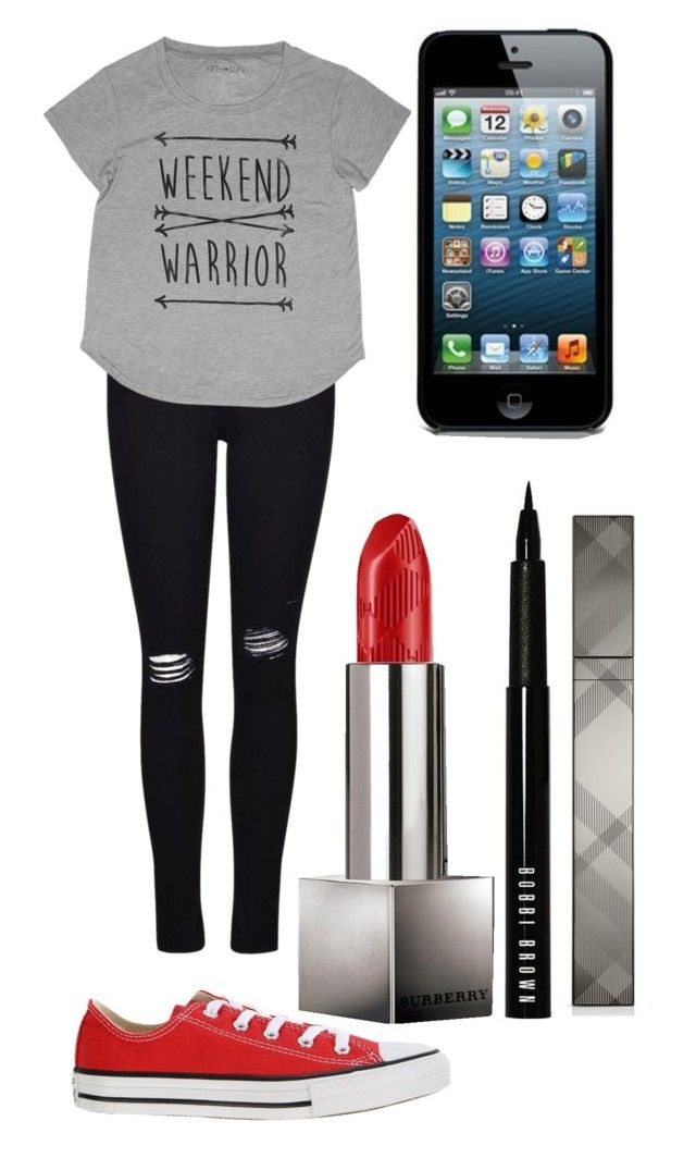 """""""Weekend warrior"""" by imagine-youtubers ❤ liked on Polyvore featuring beauty, Frame Denim, Converse, Burberry and Bobbi Brown Cosmetics"""