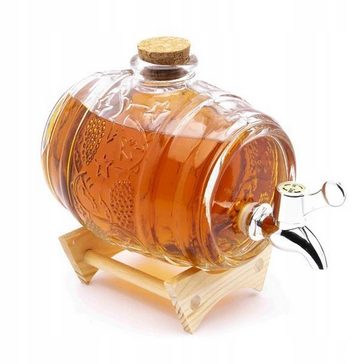 Beczka Na Alkohol Szklana Z Kranikiem Stojak 1l Condiments