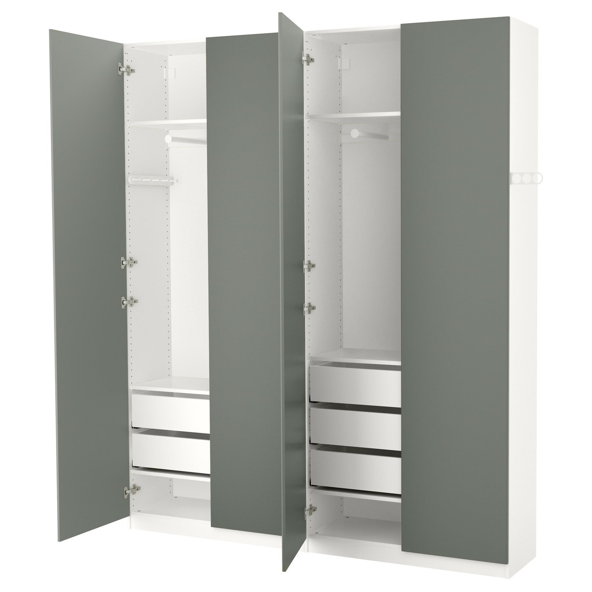 Ikea Pax White Reinsvoll Gray Green Wardrobe Products In