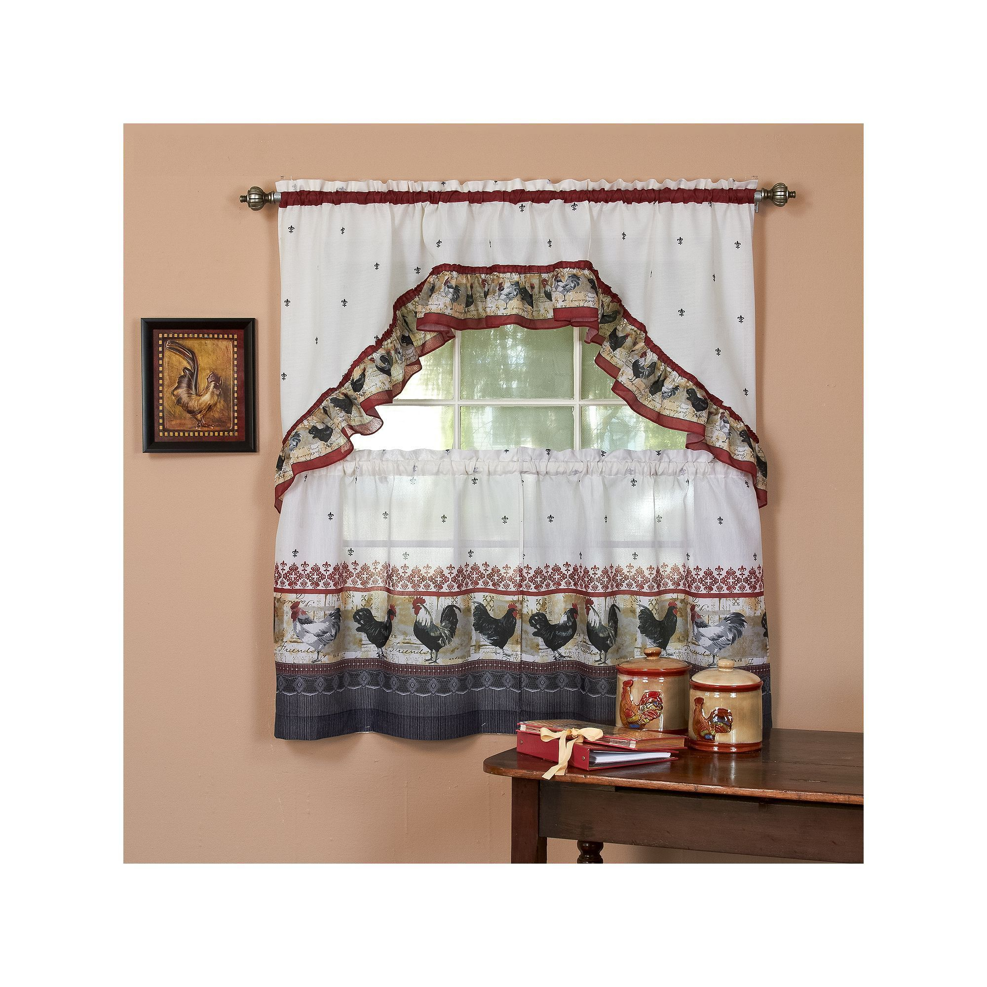 Rooster 3 Pc Swag Tier Kitchen Curtain Set Red Curtains