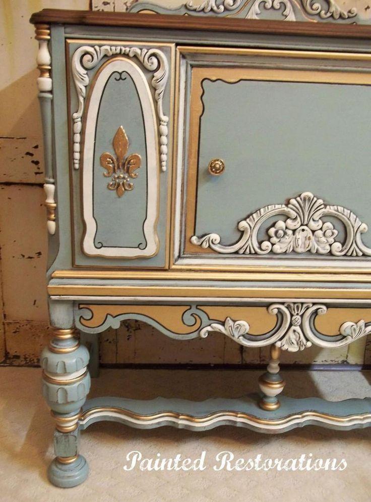 Ornate Vintage Cabinet in Persian Blue #vintage