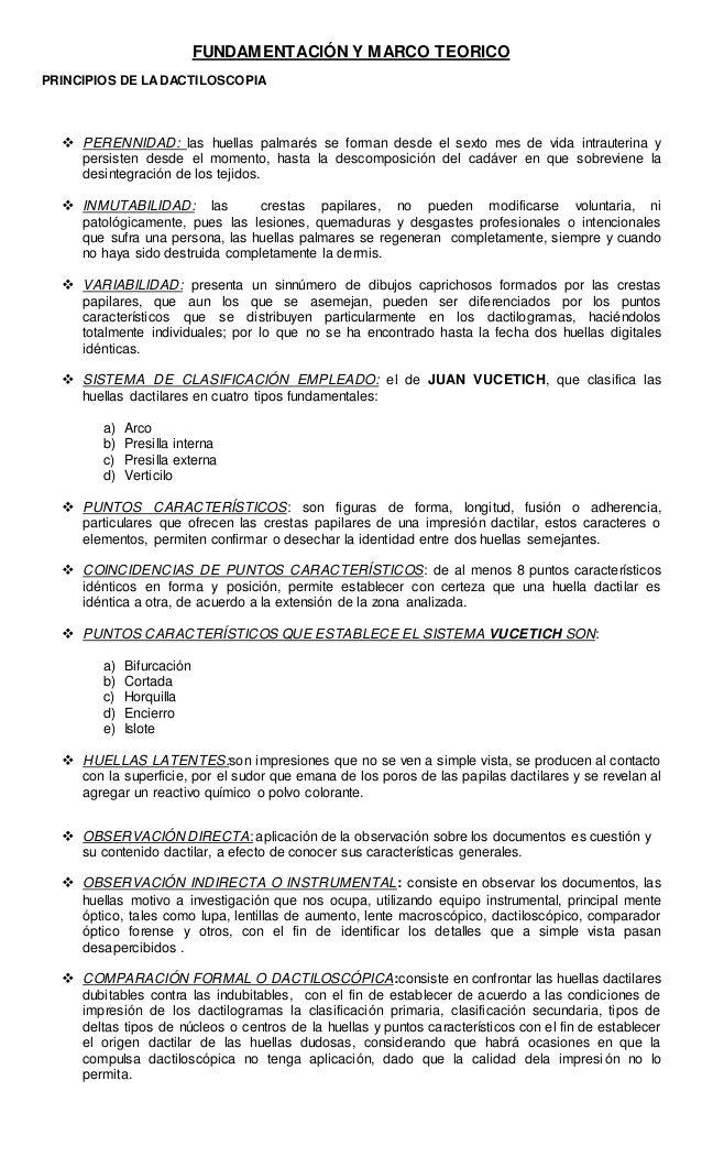 FUNDAMENTACIÓN Y MARCO TEORICO PRINCIPIOS DE LADACTILOSCOPIA ...