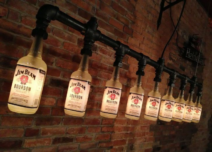 Man Caves Jim Beam : This industrial style pendant lamp is utilized old jim beam bottle