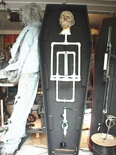 automated halloween coffin using pvc pipe and a sprinkler valve hacked gadgets diy tech - Making Halloween Props