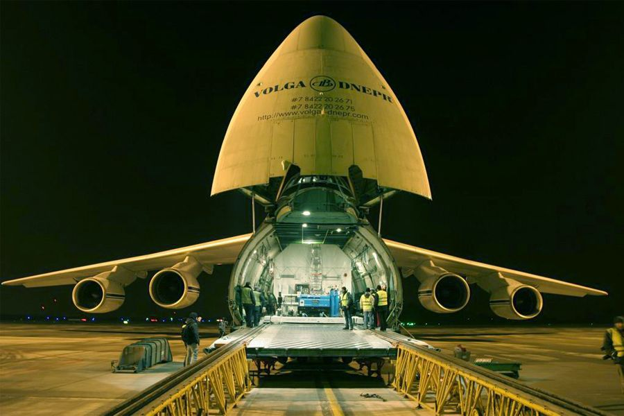 Planck loaded onto the cargo plane.