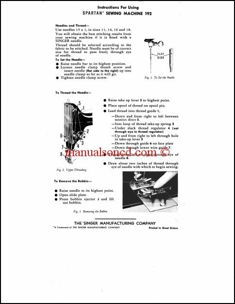 Singer Spartan 192 Sewing Machine Instruction Manual Sewing