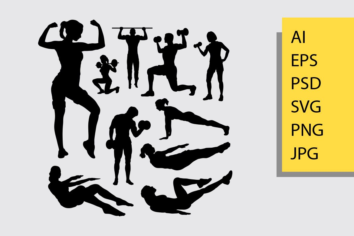 Fitness Silhouette Good Use For Symbol Logo Web Icon Mascot And You Can Use Any Size You Want Without Loss