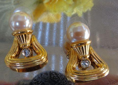 VTG SGD PD Premier Designs 14k Gold GP BIG Pearl~Rhinestone Doorknocker Earrings