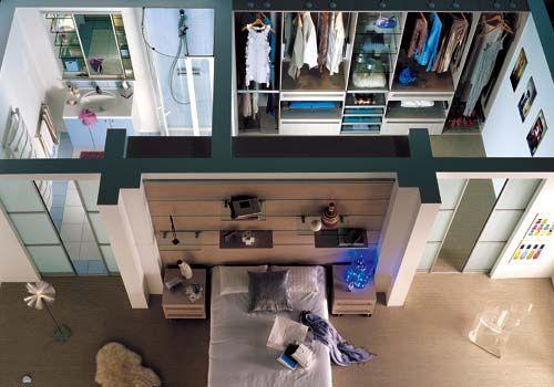 chambre avec dressing et salle de bain derrire portes coulissantes love this